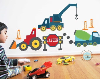Construction Wall Decals and Stickers, Large Size, Play Room Art, Baby Room, BOys Room, Gifts for Boys
