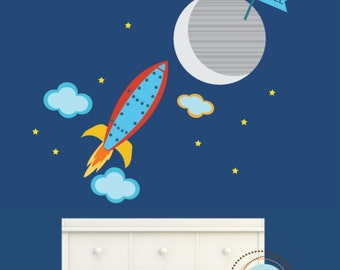 Rocket Decals, BLAST INTO SPACE, Nursery Decor, Baby Room, Play room ideas, Gifts for kids