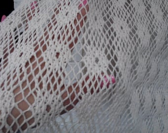 """A Yard of  Ivory Cotton Open Weave  Lace 45 """" Wide. Great for Fun Fashion,  Alter Art,  Home Decor"""