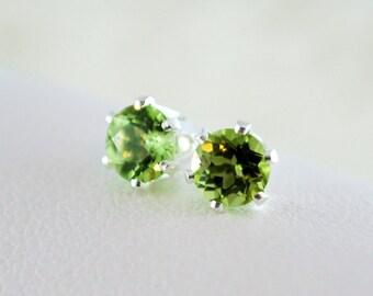 Peridot Stud Earrings, August Birthstone Earrings, Lime Green Genuine Gemstone, Child Children Girl, Sterling Silver Jewelry