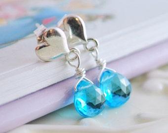 Swiss Blue Topaz Earrings, Bright Blue Genuine Gemstone, Sterling Silver Heart Ear Posts, Wire Wrapped Jewelry December Birthstone