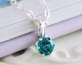 May Birthstone Necklace, Emerald Green Topaz, Genuine Gemstone, Sterling Silver Children's Jewelry