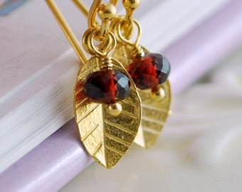 Custom Earrings For Mom, Family Jewelry, Dainty Gold Vermeil Leaves, Mother's Day, Semiprecious Gemstone