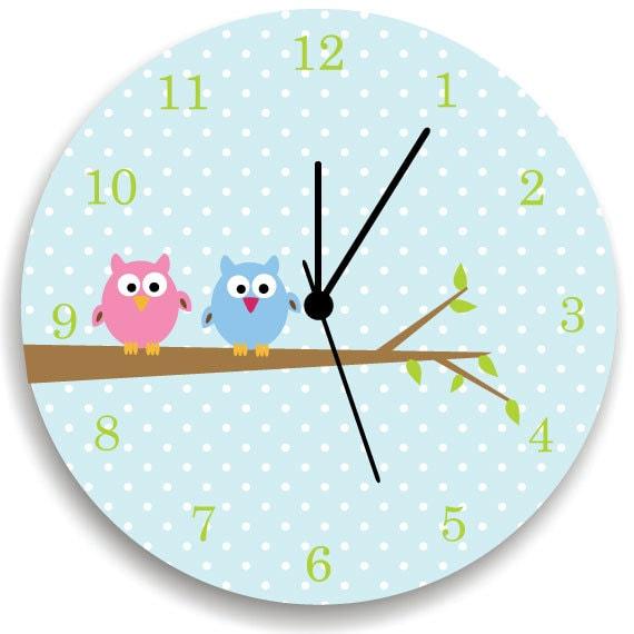 bedroom wall clock owls on tree nursery room decor