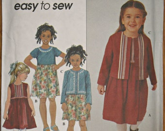 Simplicity 8816 Child's Dress and Jacket Sewing Pattern Girl's Easy to Sew