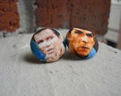 Star Trek Kirk and Spock Fabric Button Earrings