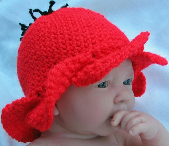 Crochet Pattern for Flower Fairy Poppy Hat in 4 sizes - INSTANT DOWNLOAD .pdf