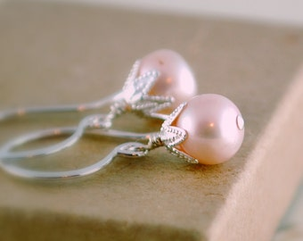 Pale Pink Earrings Genuine Freshwater Pearl Soft Rose Classic Sterling Silver Jewelry Free Shipping