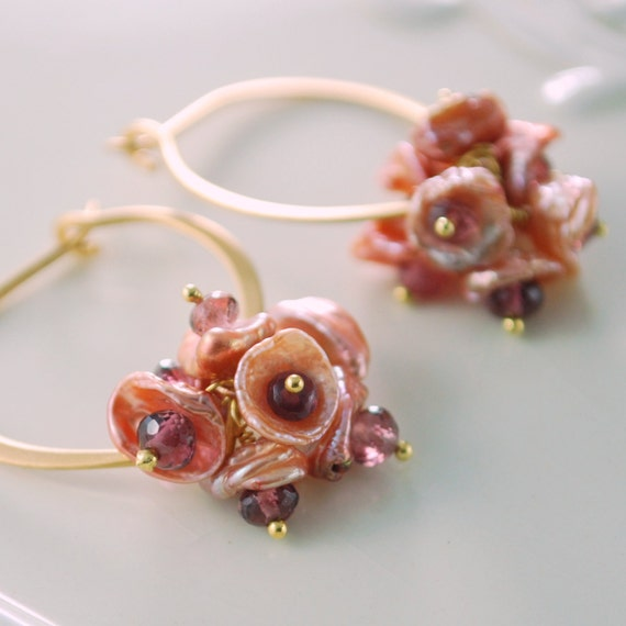 Keishi Pearl Earrings Keshi Freshwater Lotus Hoop Copper Rose Wire Wrapped Floral Blossom Gold Jewelry Complimentary Shipping
