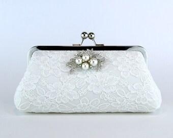 Alencon Lace  Silk Clutch with Brooch in Ivory,  wedding clutch, wedding bag, Bridal clutch