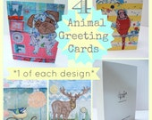 Greeting card set - 4 blank greeting cards . Budgie, stag, pug and bird design.Free motion embroidery design. Birthday. Any occasion