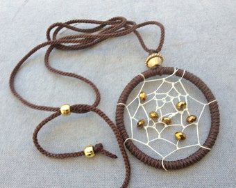 Macrame Dreamcatcher Necklace (Brown)