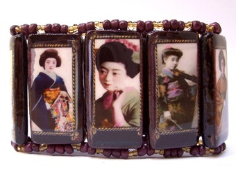 Geishas Plum & Gold - Bamboo Tile Cuff Bracelet