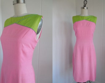 1960s Vintage Mod Pink and Lime Green Posh by Jay Anderson Shift Dress