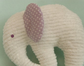 Stuffed Chenille Elephant, White, ears are Lavender with White dots