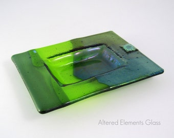 Fused Glass Dish - Chartreuse and Iridized Olive Green - Trinket Dish - Soap Dish - Candle Dish