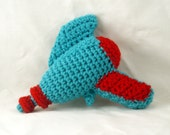Crochet Raygun in Turquoise and Bright Red - Baby's First Raygun