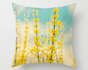 Pillow Case - Yellow Forsythia - Nature Home Decor  - Pillow Cover  - Fine Art Pillow  - Custom Pillow