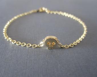 Gold Tiny Skull Bracelet