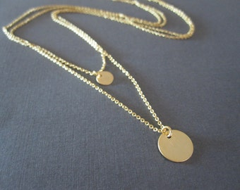 Gold Disc Double Chain Necklace