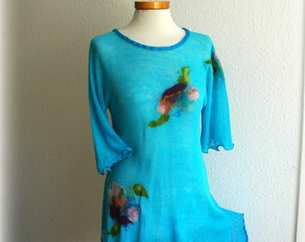 Asymmetric Delicate Sunny Turquoise Tunic LINEN Knitted Short Sleeve With Felt Flower Application Eco Friendly Clothing  Size M L