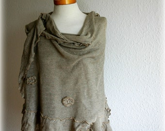 LINEN  Grey Knitted Shawl , Unique Art, Eco Friendly, Scarf Fashion, Wrap Scarves Clothing,Grey Scarf,Natural Clothing, Plus Size