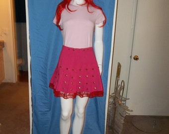 Pink Studded Skirt with Red Lace