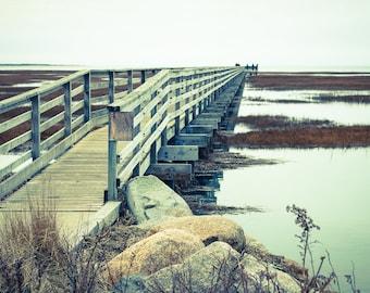 GRAYS BEACH BOARDWALK Fine Art Photography, Cape Cod Massachusetts, Coastal Cottage Decor, Subtle Earth Tones, Brown Blue Colors, Salt Mars