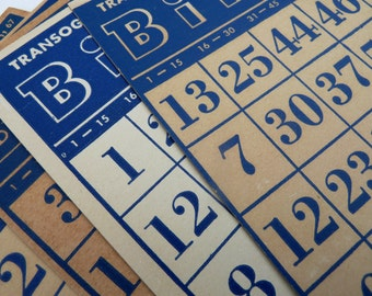 Vintage Bingo Cards; Transogram Bingo Cards; Blue Bingo Cards