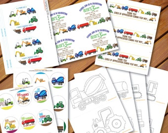 Printable Party Pack - Construction Trucks - Custom Invitations and CD Label, Thank You Cards, Coloring Cards and Stickers