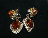 Earrings Deep Tangerine and White Rhinestone Dangles Screw Backs