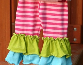 Rainbow pink and pink stripe with green and blue ruffles knit leggings sizes 12m - 12 girls