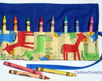 Crayon Roll Up Crayon Holder Ponies In Bermuda - Holds 8 Crayons