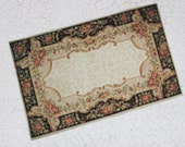 Miniature Aubusson Carpet in Black Cream and Rose for Dollhouse One Twelfth Scale