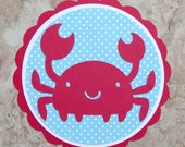 Crab ocean invitations for birthday or baby shower- red and blue- 15 pack