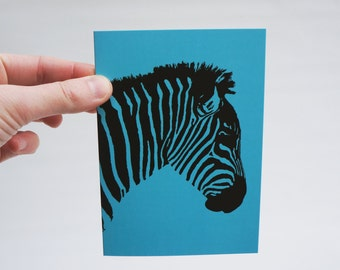 Zebra Greeting Card, you choose the color: Blue, Green or Pink, all occasion card