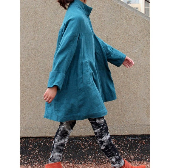 Free Style Pleated Linen Long Coat / Cape/ 5 Colors/ RAMIES