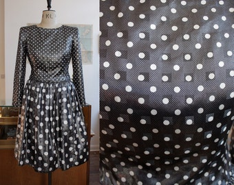 Vintage 1980s Polka Dot Designer Dress Size UK 10-12