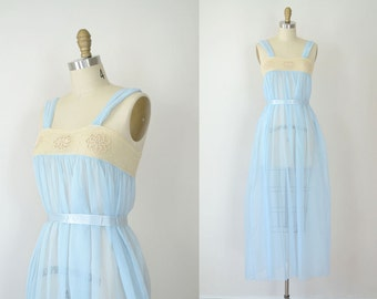 1940s  Nightgown /  40s Baby Blue Ecru Mesh Lingerie