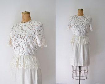 SALE! Vintage Lace Dress / 1980s Nude Illusion Dress