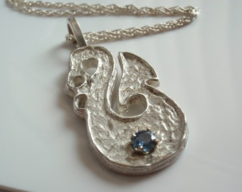 Blue Sapphire Necklace Natural Sterling Silver Maori Fish Hook Hei-Matau Artisan Made