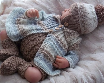 Baby Knitting Pattern - Baby Boys or  Reborn Dolls Instant Download  PDF Knitting Pattern - Coat, Hat, Trousers & Booties