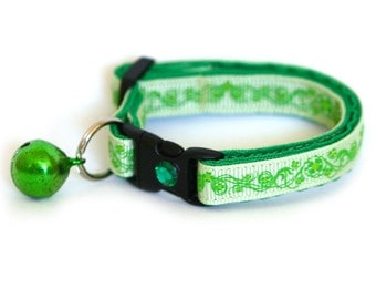 St. Patrick's Day Cat Collar - Pretty Shamrocks on Green -  Small Cat / Kitten Size or Large Size