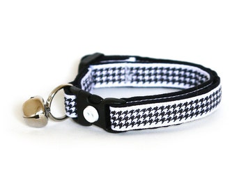 Houndstooth Cat Collar - Black on White - Small Cat / Kitten Size or Large Size