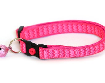 Chevron Cat Collar - Pink on Pink Chevrons - Large Size Collar