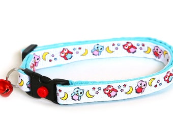 Owl Cat Collar - Night Owls on White & Blue- Small Cat / Kitten Size or Large Cat Collar