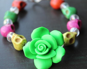 Sugar Skull Bracelet Day of the Dead Skull and Rose Bracelet