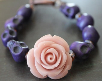 Day of the Dead Blush Rose and Sugar Skull Bracelet