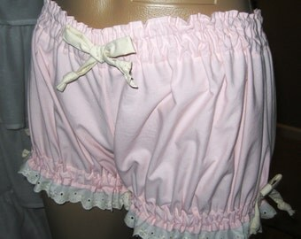 Size XL Plus Size-Womens Cotton Bloomers Pale Pink trimmed in Cream Ribbons and Eyelet