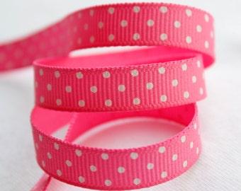 Bubblegum Pink Swiss Dots 3/8 inch Grosgrain Ribbon - Choose 1, 5, 10, 20 or 50 yards - Hairbow Supplies, Etc.